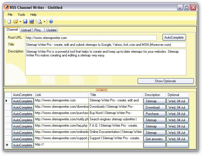 RSS Channel Writer screen shot